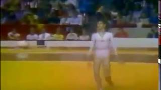 Comaneci's compulsory floor exercise at the 1976 olympics.Score 9.9