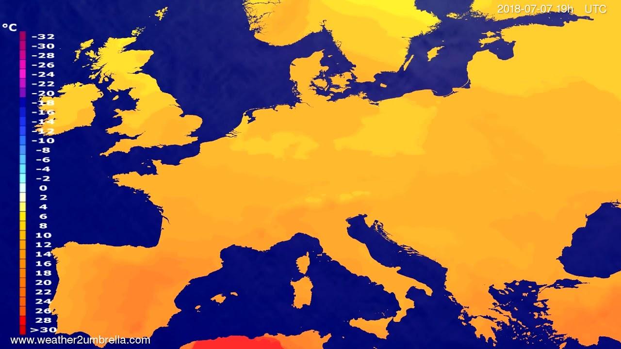 Temperature forecast Europe 2018-07-05