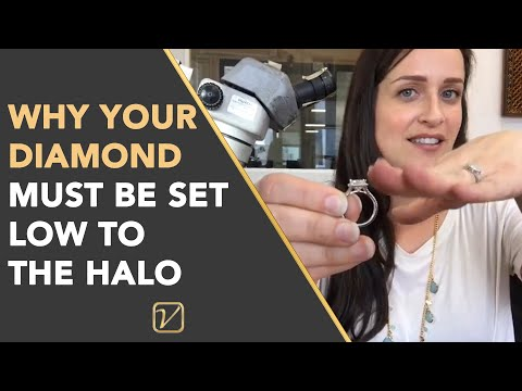 ROUND DIAMOND WITH A CUSHION HALO | Why your diamond MUST be set low to the halo