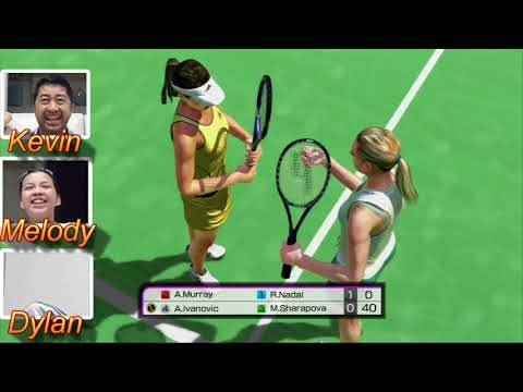 PS3 Virtual Tennis 4 Multiplayer with Dylan and Melody (while trying to remain quiet)