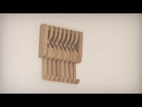 FLEXY Klappbare Garderobenhaken Wandgarderobe Kleiderhaken aus Massivholz