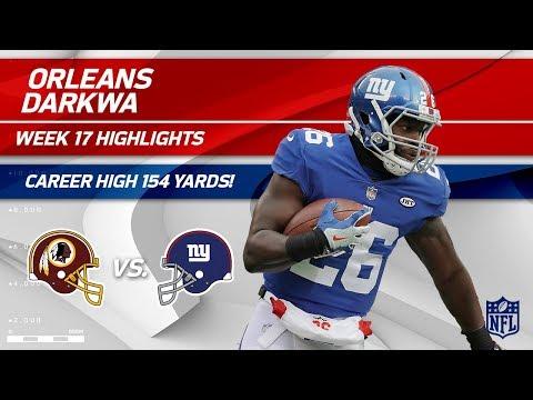 Video: Orleans Darkwa Dominates w/ Career High 154 Rushing Yards! | Redskins vs. Giants | Wk 17 Player HLs
