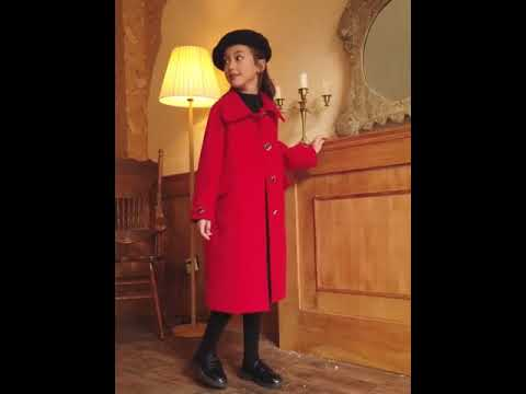Girls thick red can not afford the ball long woolen coat jacket купить с Aliexpress видео