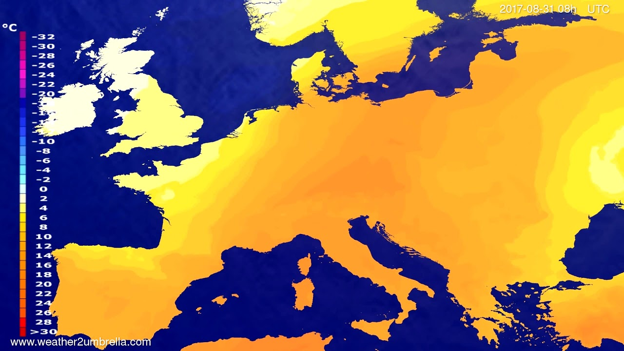 Temperature forecast Europe 2017-08-28