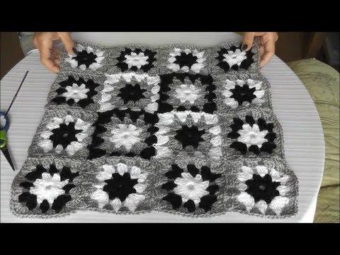 Patchwork Häkelkissen  – Mehrfarbiges Muster, Quadrate zusammenhäkeln, Teil 2/3