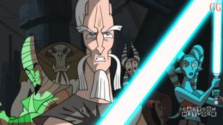 This is a Cartoon Network Micro-Mini Series from 2003-2005. It takes place in between Star Wars Episode 2 Attack of the Clones and Revenge of the SithThis is Season 2 Episode 10Episode Description: The Republic has won the battle of Muunilist, but news arrives off a new droid general hunting down Jedi on the planet Hypori. There, a group of Jedi consisting of Ki-Adi Mundi, Shaak Ti, K'Kruhk, Aayla Secura, Tarr Seirr and Sha'A Gi are driven into a corner by the formidable General Grievous.