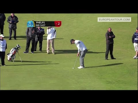 Swimmer Michael Phelps holes a 159 foot putt in a pro-am!
