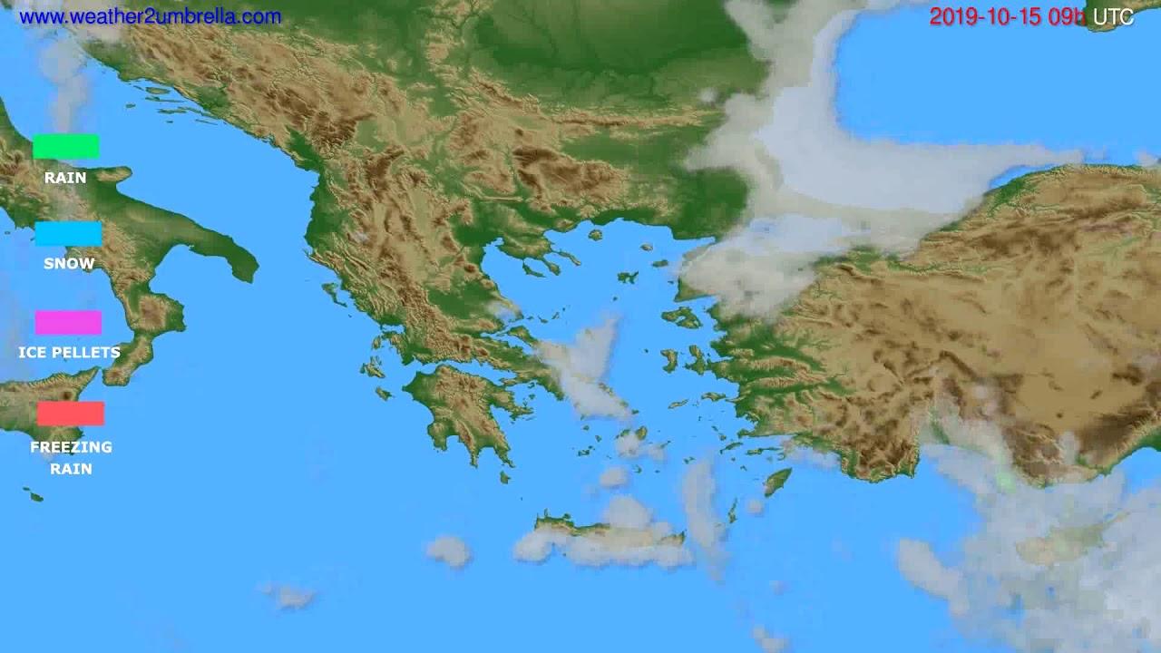 Precipitation forecast Greece // modelrun: 12h UTC 2019-10-13