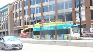 Detroit QLine LRV Going South On Woodward Ave And Will Change From Pantograph to Battery