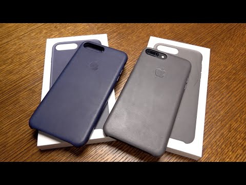 iPhone 7 Plus Leather Case Gray & Midnight Blue