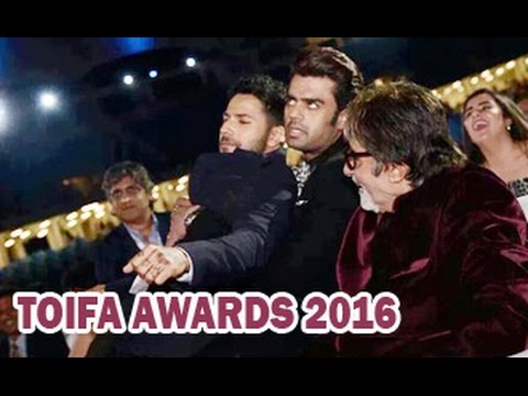 Big-B-Varun-Dhawan-Manish-Paul-Chill-out-together-TOIFA-Awards-2016-Manma-Emotion-Jaage-Re