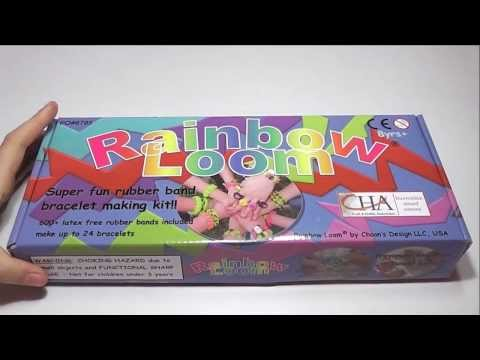 Unwrapping my Rainbow Loom® kit super fun rubber band bracelet making kit. Opening the new toy box