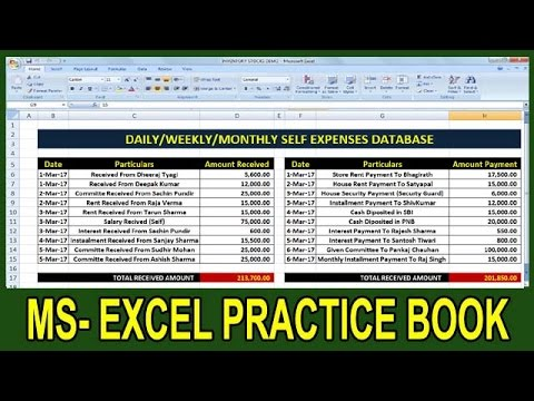 Exercise 41 | Excel Practice Book | How To Make Monthly Expenses Report In Ms Excel