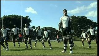 The pre-game war dances, Bole (FIJI) & Sipi Tau (TONGA) 23 Jun. 2012, Churchill Park, Lautoka.