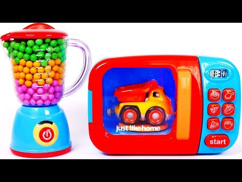 Learn colors with microwave and toy vehicles for kids