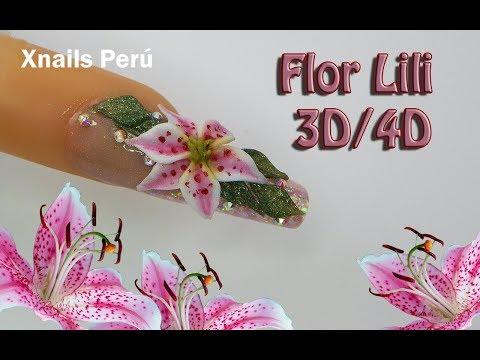 Uñas acrilicas - Uñas Acrílicas Flor Lili 3d - 4d / Xnails Peru