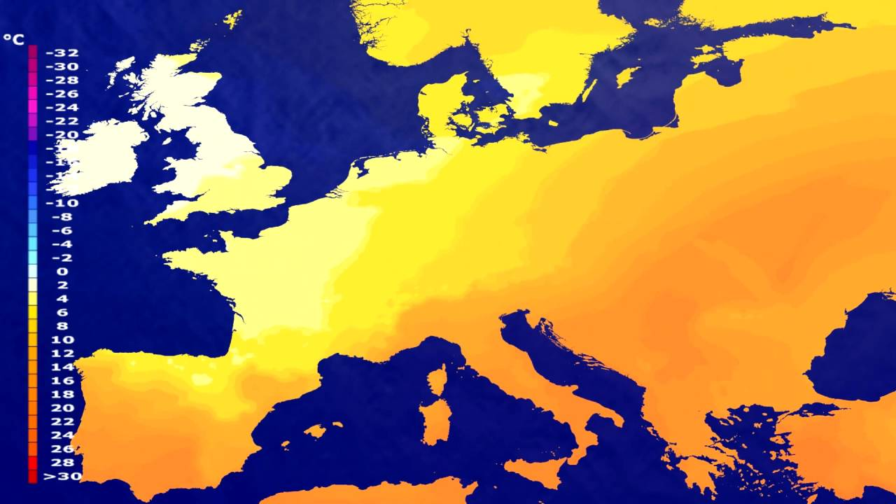 Temperature forecast Europe 2016-07-09