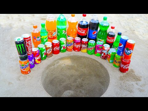 Big or Small Fanta, Coca Cola, Pepsi and Many Other Popular Sodas VS Mentos in Double Underground!