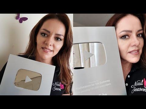 Uñas decoradas - Unboxing Boton de plata Youtube 100mil subs Silver Button Award Nailseason