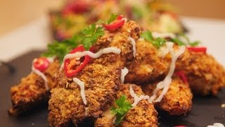 Get your teeth into these crispy, crunchy oven baked chicken and serve with my colourful rainbow salad. A fabulous week day meal to impress the family.