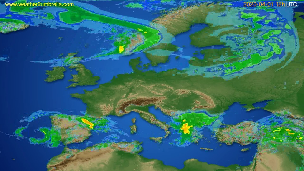 Radar forecast Europe // modelrun: 00h UTC 2020-04-01