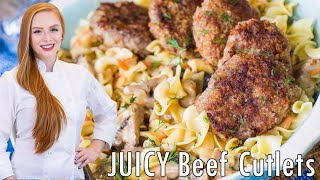 Juicy Beef Cutlets with gravy by Tatyana's Everyday Food