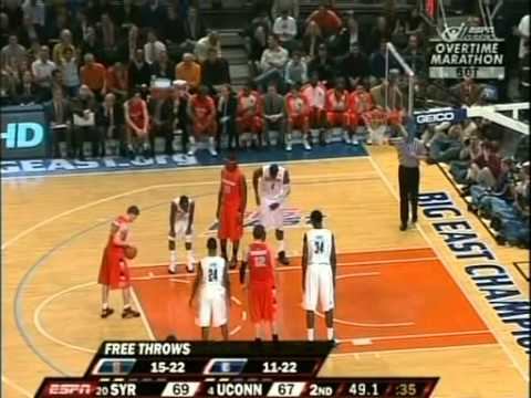 #20 Syracuse vs #4 Connecticut Big East Tournament Quarterfinal 03/12/09 (6OT) (Full Game)