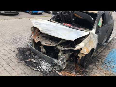 Wideo: Wrak spalonej toyoty w Lubinie