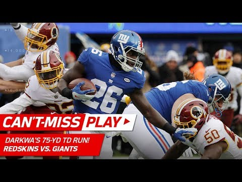 Video: Orleans Darkwa Breaks Off 75-Yd TD on 2nd Play of the Game! | Can't-Miss Play | NFL Wk 17