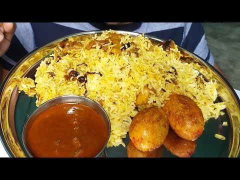 Best food chicken biryani and fried egg eating (spicy food)