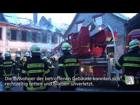 Großbrand in Merxheim -  zwei Gebäude zerstört