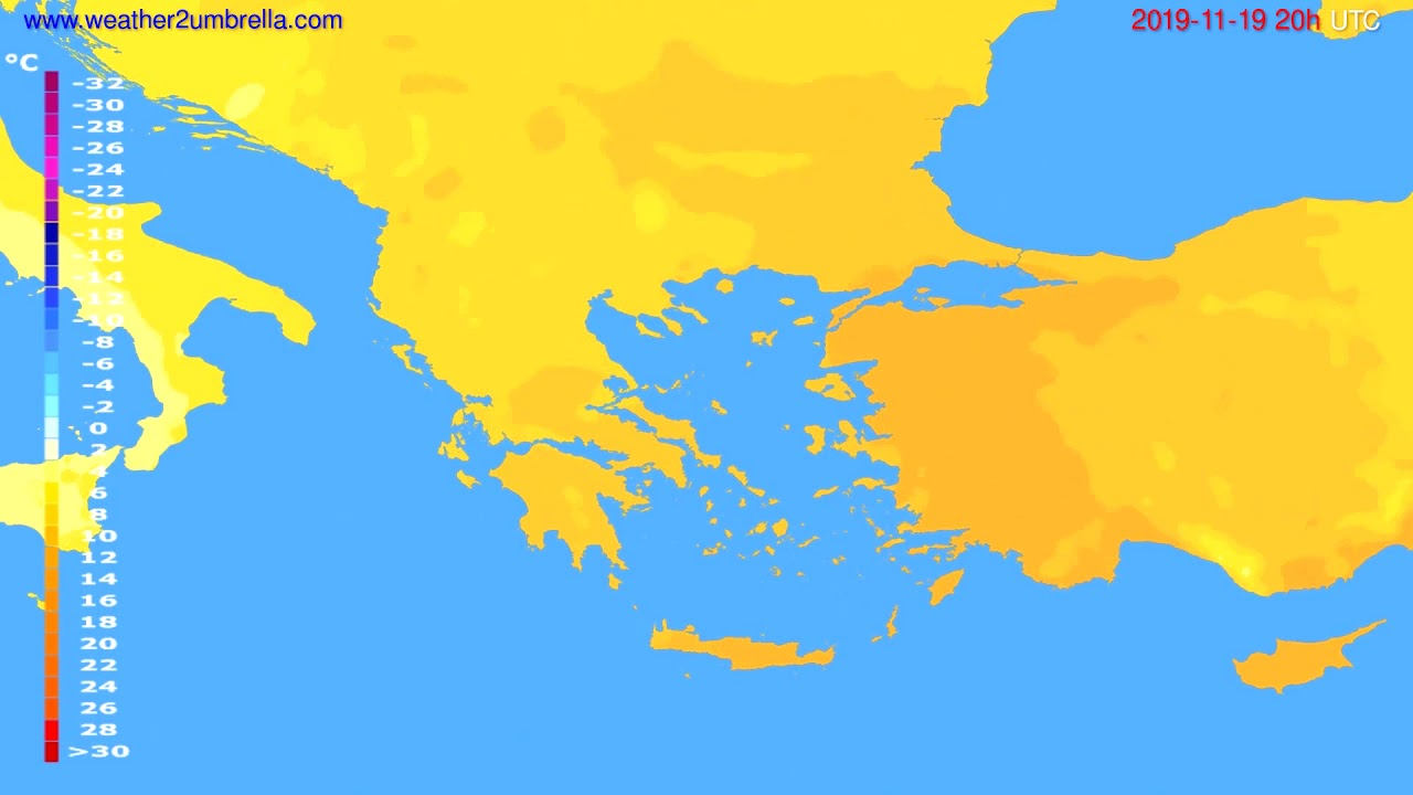 Temperature forecast Greece // modelrun: 12h UTC 2019-11-18