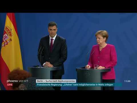 Angela Merkel und Pedro Sánchez auf Pressekonferenz z ...