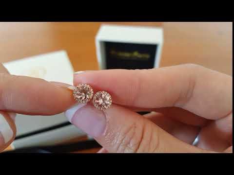 Morganite and Diamond 18ct Rose Gold Earrings