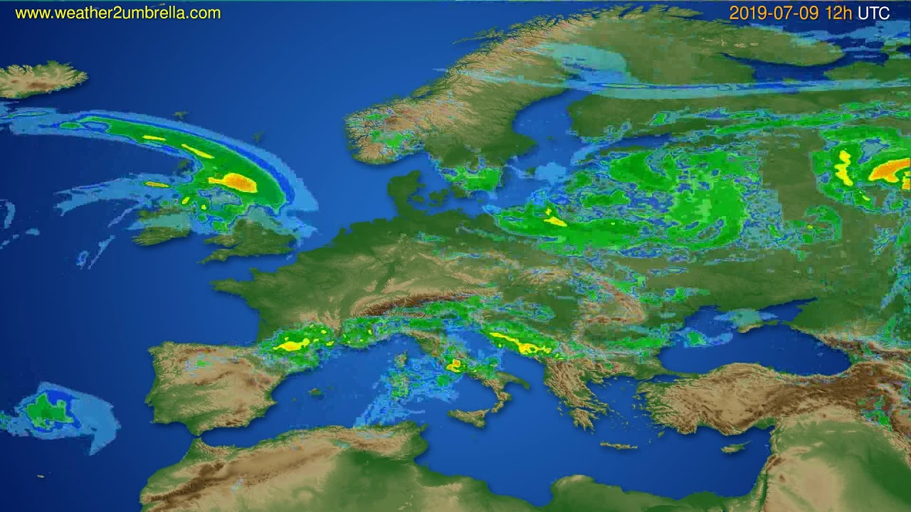 Radar forecast Europe // modelrun: 00h UTC 2019-07-09