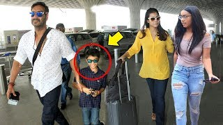 Video Ajay Devgn With Kajol & Children Son Yug & Daughter Nysa Spotted At Mumbai Airport MP3, 3GP, MP4, WEBM, AVI, FLV April 2018