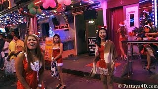 Pattaya Walking Street Nightlife GoGo Girs And Freelancer On Christmas Part1 Happy News Year 2014