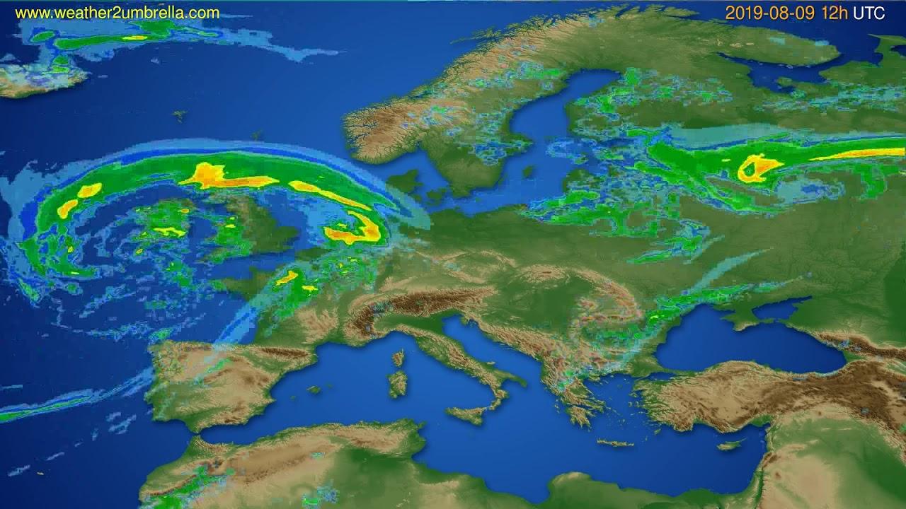 Radar forecast Europe // modelrun: 00h UTC 2019-08-09