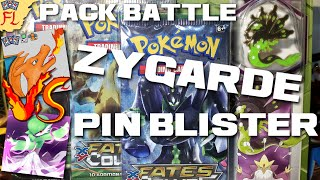 Opening a Pokemon TCG Fates Collide Zygarde Pin Blister vs PokePixi! by Flammable Lizard
