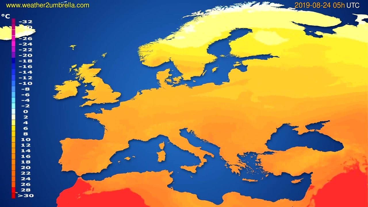 Temperature forecast Europe // modelrun: 00h UTC 2019-08-22