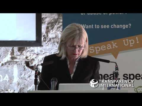Emily O'Reilly speaks at the aunch event for Transparency International Ireland's Speak Up Helpline
