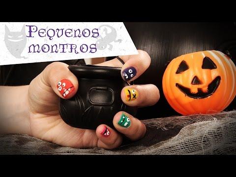 """Nail art """"Pequenos monstros"""" especial Halloween"""