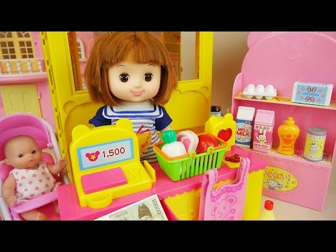 Baby doll Mart and food shop play with Poli car toys