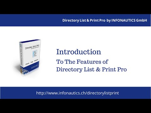 Directory List & Print Pro - Introduction To The Features