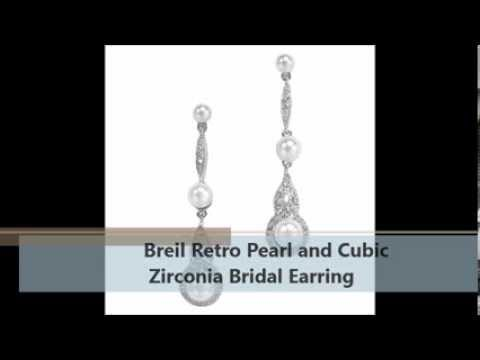 Bridal Jewelry: Breil Retro Pearl and Cubic Zirconia Bridal Earring
