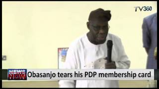 Obasanjo Tears His PDP Membership Card, Says He Is No More A Politician