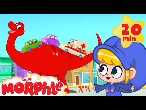 Morphle the Traffic Dinosaur helps cars + vehicles - Dinosaurs for kids (T-rex, Argentinosaurus)