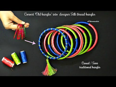 Video How to make silk thread bangles at home  convert old bangles into semi traditional silk bangles download in MP3, 3GP, MP4, WEBM, AVI, FLV January 2017