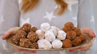 3 No-Bake Christmas Cookie Balls (Peanut Butter, Rum, and Chocolate Hazelnut)