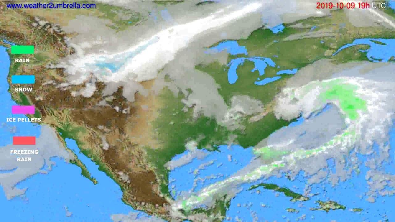 Precipitation forecast USA & Canada // modelrun: 12h UTC 2019-10-06